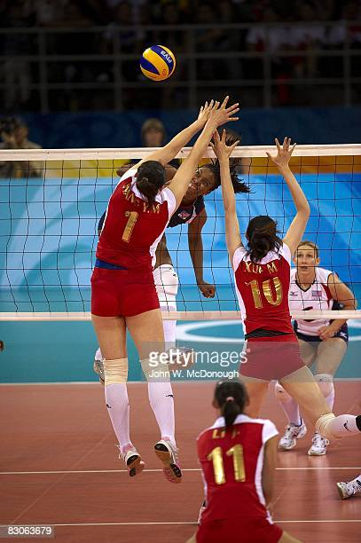 2008 Summer Olympics USA Kimberly Glass in action vs China during Women's Preliminary at Capital Indoor Stadium Beijing China 8/15/2008 CREDIT John W...