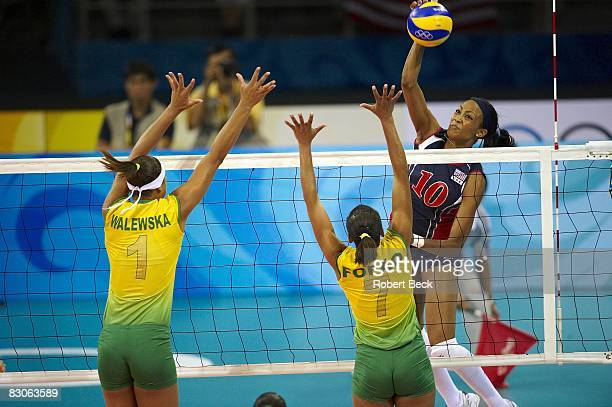 2008 Summer Olympics USA Kimberly Glass in action vs Brazil Walewska Oliveira and Helia Souza during Women's Gold Medal Game at Capital Indoor...