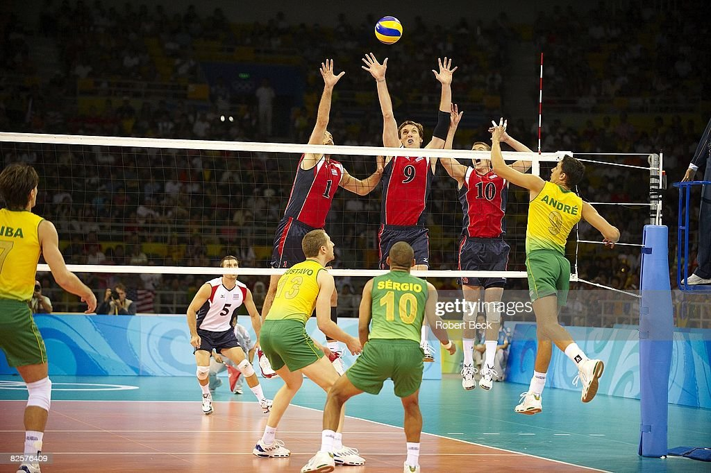 USA Lloy Ball (1), Ryan Millar (9), and Riley Salmon (10) in action vs Brazil Murilo Endres (8) during Men's Final at Capital Gymnasium. Beijing, China 8/24/2008
