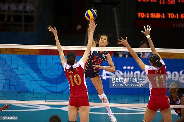 2008 Summer Olympics USA Logan Tom in action vs China during Women's Preliminary at Capital Indoor Stadium Beijing China 8/15/2008 CREDIT John W...