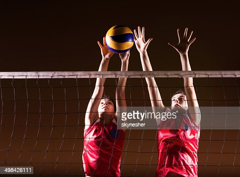 Volleyball action.