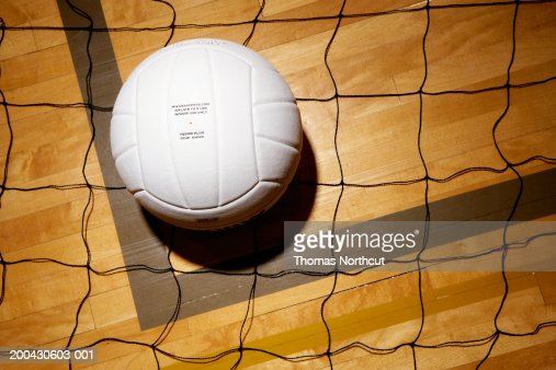 Indoor volleyball ball and net