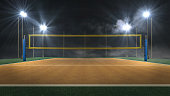 Empty night volleyball court with flashlights view 3d rendering