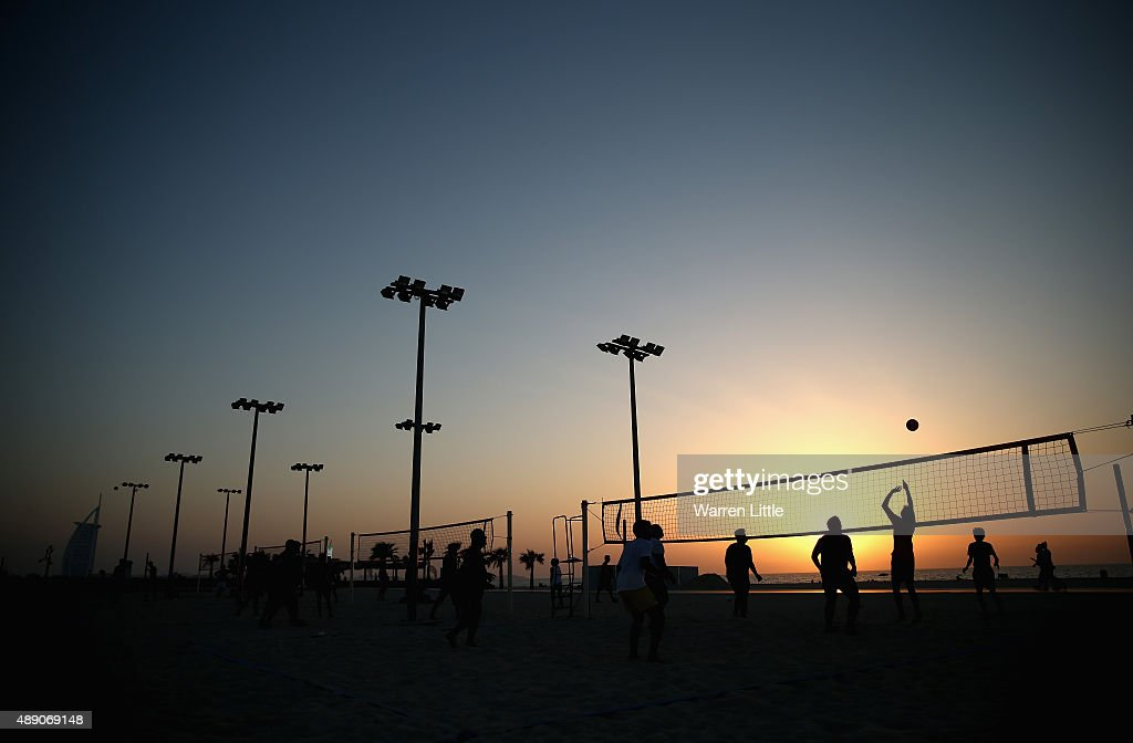 Volleyball courts are used by the public at the recently refurbished Kite Beach is pictured on September 14, 2015 in Dubai, United Arab Emirates. The Beach is very popular with Dubai locals, with a variety of water sports and refreshments on offer.