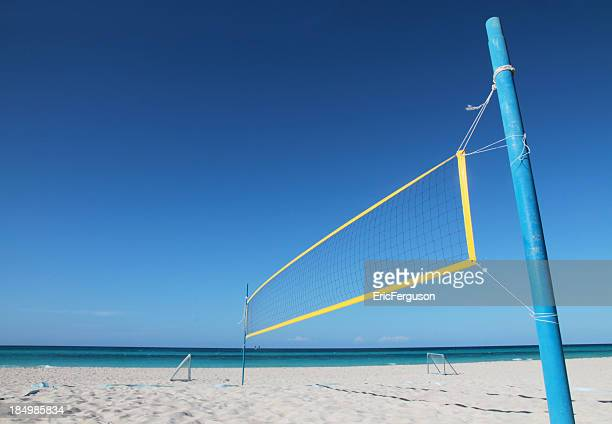 Volleyball net on carribean beach with copyspace
