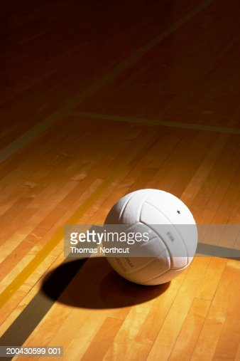 Volleyball On Indoor Volleyball Court Elevated View Stock Photo ...