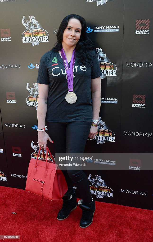 Volleyball player Lindsey Berg arrives at the 9th Annual Stand Up For Skateparks Benefiting The Tony Hawk Foundation at a private residence on October 7, 2012 in Beverly Hills, California.