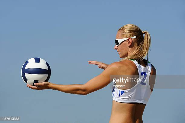 Volleyball player ready to serve