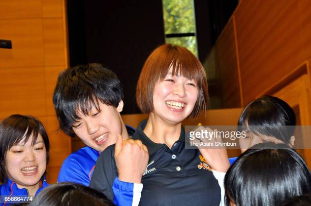 Volleyball player Saori Kimura is seen after a press conference on her retirement at Toray Arena on March 22 2017 in Otsu Shiga Japan
