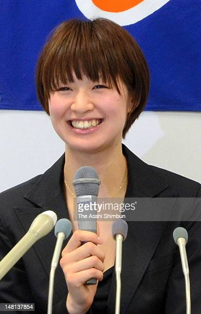 Volleyball player Saori Kimura speaks during a press conference on her move to Turkish league side VakfBank at Toray headquaters on July 10 2012 in...