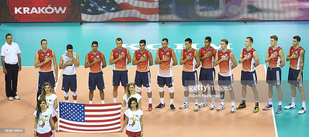 Volleyball team of USA sings national anthem of USA during the FIVB World Championships Volleyball at Cracow Arena on August 31, 2014 in Cracow, Poland.