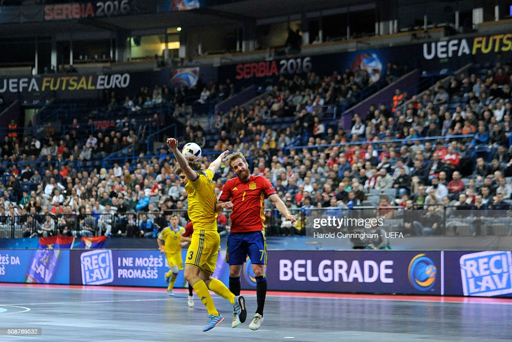 Volodymyr Razuvanov of Ukraine and Pola of Spain in action during the UEFA Futsal EURO 2016 match between Ukraine and Spain at Arena Belgrade on February 6, 2016 in Belgrade, Serbia.