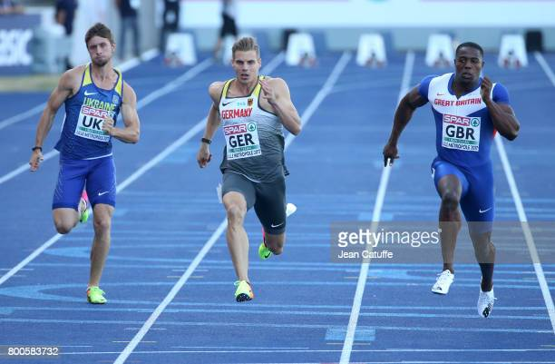 Volodymyr Suprun of Ukraine Julian Reus of Germany and Harry AikinesAryeetey of Great Britain compete in the 100m during the 2017 European Athletics...