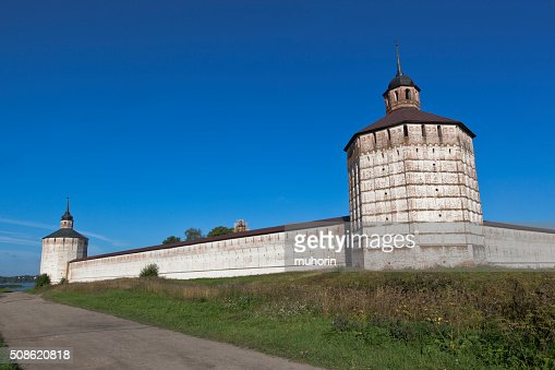 Vologda and Blacksmith towers of Kirillo-Belozersky Monastery : Stock Photo