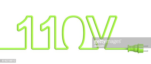 110 Volt concept from green wire and plug. 3D rendering : Stock Photo