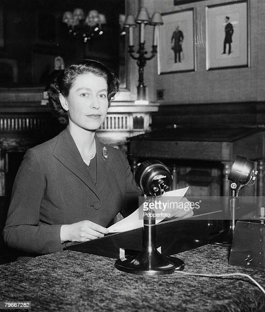 Page 29 Picture 2 British Royalty Queen Elizabeth II making her first Christmas radio broadcast 25th December 1952