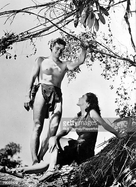 Volume 2 Page 103 Picture 4 US swimmer and film actor Johnny Weismuller and Maureen OSullivan on the set of Tarzan