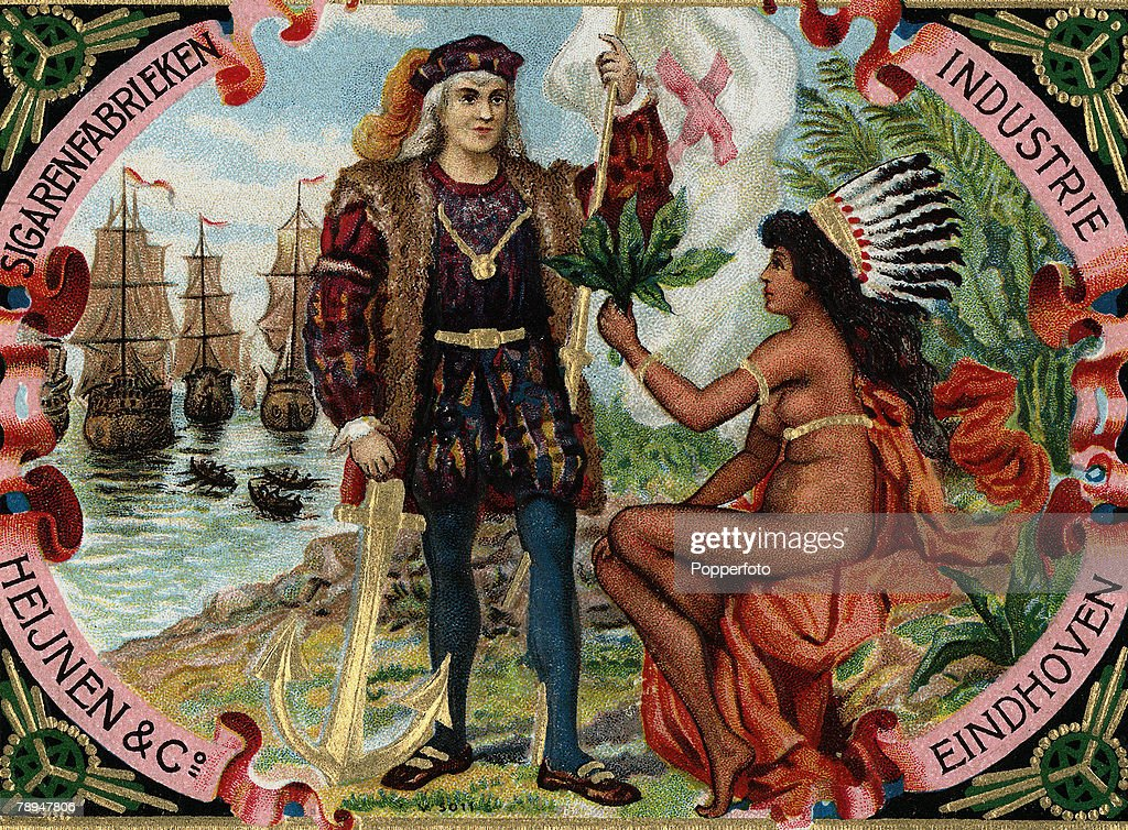 Volume 2, Page 105, Pic 1, Colour illustration of Italian navigator and explorer <a gi-track='captionPersonalityLinkClicked' href=/galleries/search?phrase=Christopher+Columbus+-+Explorer&family=editorial&specificpeople=78936 ng-click='$event.stopPropagation()'>Christopher Columbus</a> in the New World