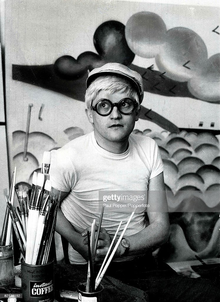 Volume 2 Page 115 Picture Artist David Hockney wearing his trademark hat and glasses pictured in his studio circa 1965