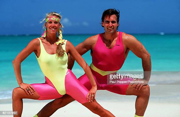 Volume 2 Page 13 Picture 10 Health Fitnessbeach aerobics Man and woman exercising on beach
