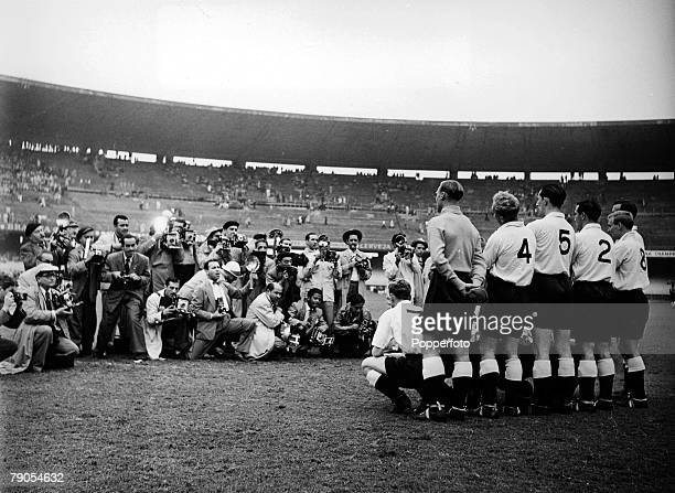 34 Picture 1 Football 1950 World Cup Finals Rio De Janeiro Brazil The England team pose as a huge group of photographers take pictures in the...