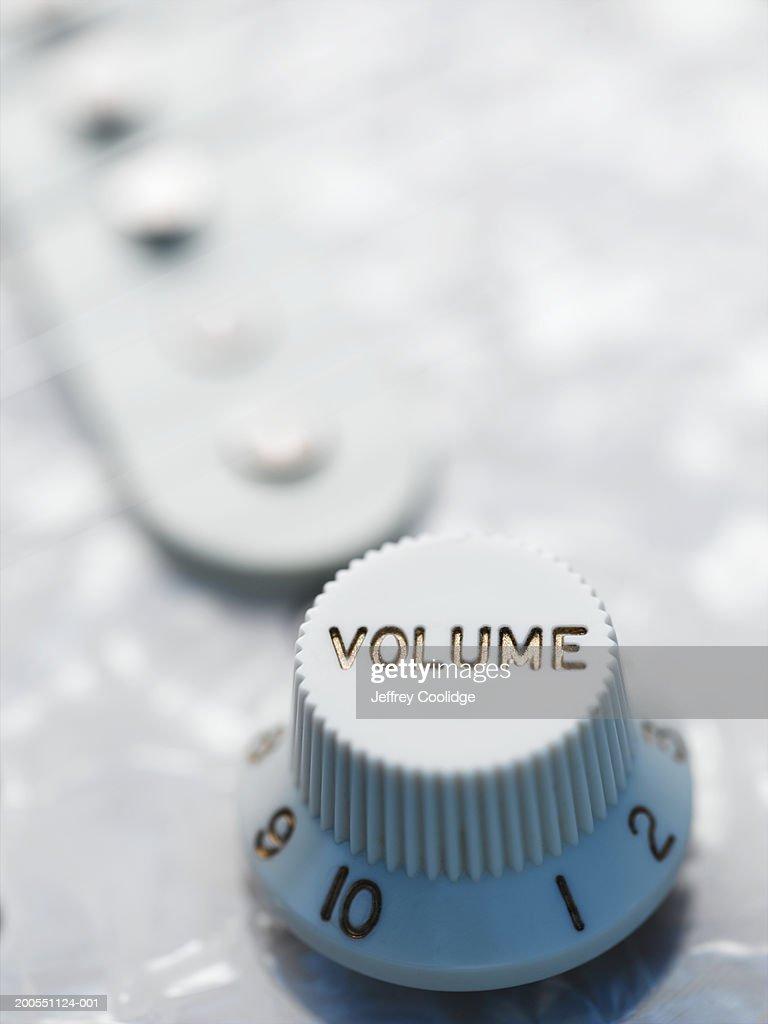 Volume knob on electric guitar, close-up. : Stock Photo