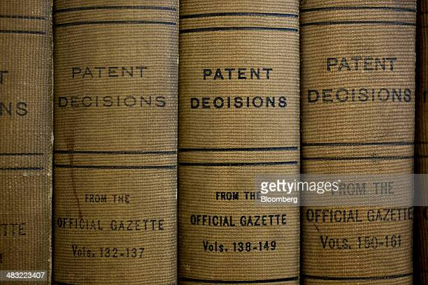 Volumes of patent decisions from the Official Gazette of the US Patent and Trademark Office sit at the headquarters' public search facility in...