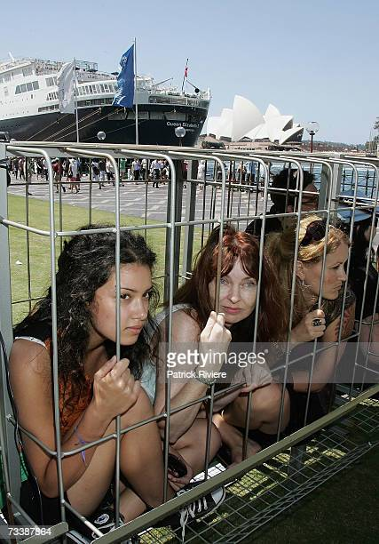 Volunteer animal rights activists launch the Human Battery Cage at Circular Quay's Museum of Contemporary Art on February 22 2007 in Sydney Australia...