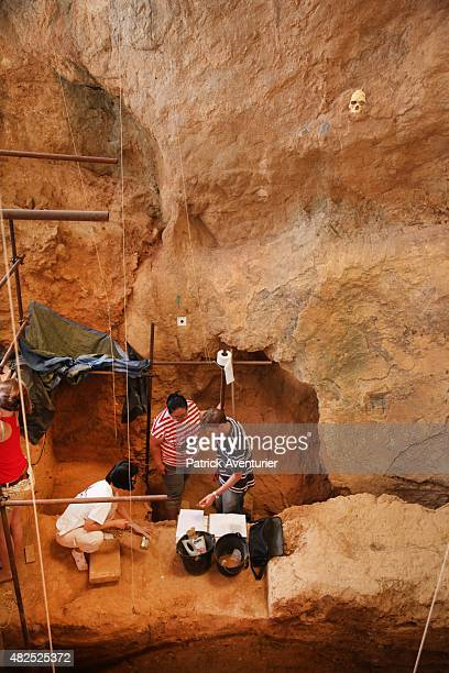Volunteer archeologists work in the Arago cave Two young French volunteer archeologists hold an adult tooth dating back around 560000 years in the...