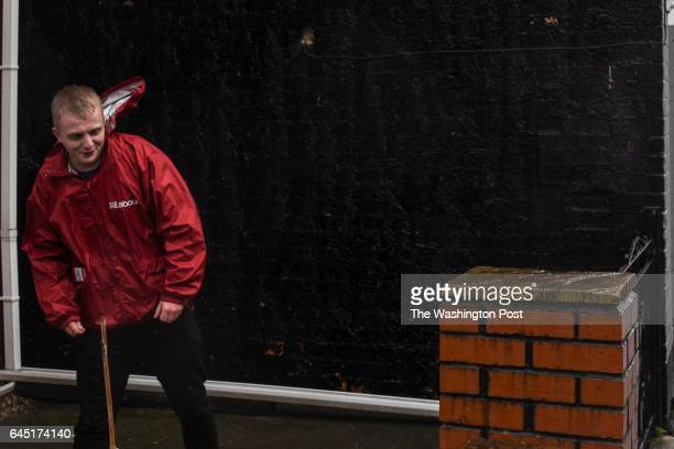 A volunteer for the Labour party braves high winds as he canvasses a neighborhood in Stoke on Trent United Kingdom on February 23 2016 Turnout was...