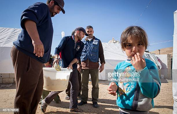 Volunteer from a Lebanese nongovernmental organisation one of three currently operating relief groups in the eastern Lebanese town of Arsal after...