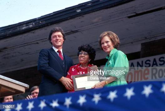 Arkansas Governor Bill Clinton appears with Civil Rights activist Rosa Parks and First Lady Rosalyn Carter in Arkansas July 1979