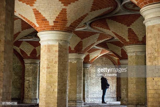 Volunteer Jules Hussey looks at the ceiling of the Grade II listed Victorian Crystal Palace Subway that is hidden under the A212 road at Crystal...