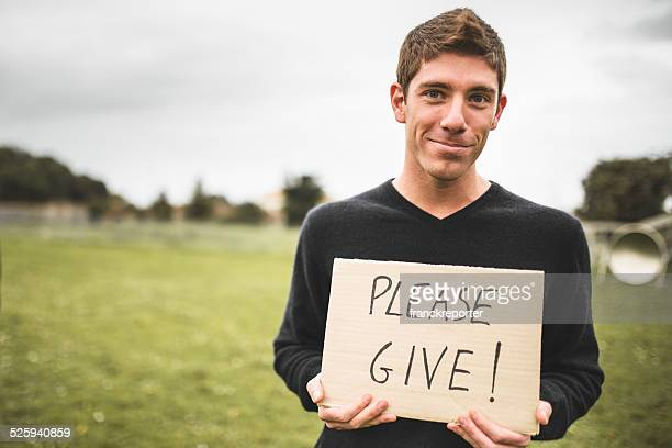 volunteer man ask to give