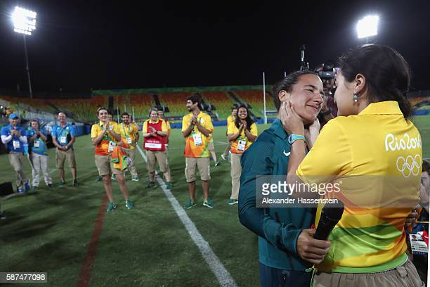 Volunteer Marjorie Enya and rugby player Isadora Cerullo of Brazil smile after proposing marriage after the Women's Gold Medal Rugby Sevens match...