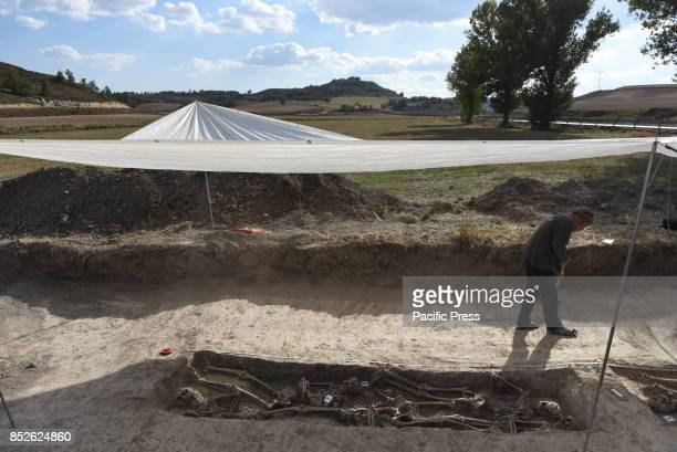 A volunteer of the associations 'Aranzadi' pictured searching for the remains of seven people murdered by proFranco forces in 1936 and placed in a...