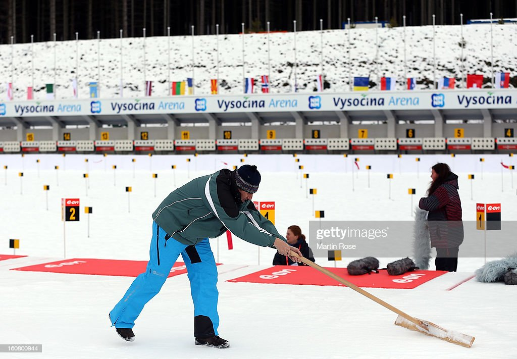 A volunteer prepairs the shooting range before an offical training session at Vysocina Arena on February 6, 2013 in Nove Mesto na Morave, Czech Republic.