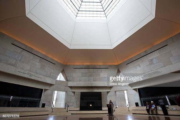 A volunteer reads names during the annual Names Reading ceremony to commemorate those who perished in the Holocaust in the Hall of Remembrance at the...