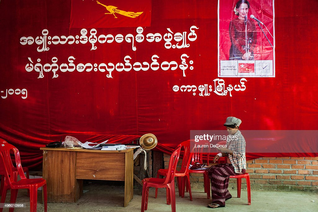 A volunteer sits at the National League for Democracy Party on November 6 2015 in Kaw Hmu Myanmar ahead of the landmark November 8 elections Kaw Hmu...