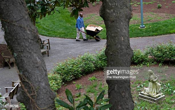 Volunteer Thomas Tazanu carts palm crosses to adorn the Stations of the Cross in the grotto at the Franciscan Monastery of The Holy Land in...