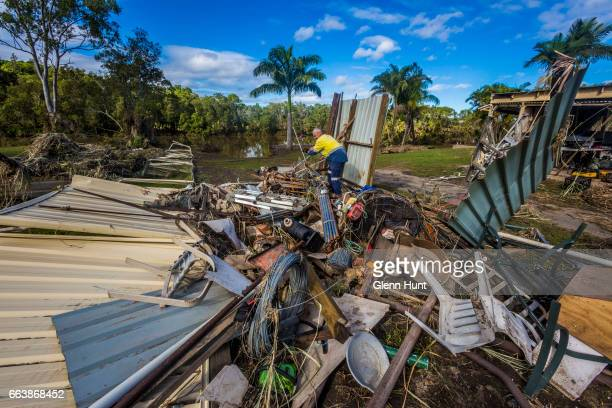 Volunteer Tim Mainwaring helps clean up a property at Eagleby that was damaged by flood water on April 3 2017 in Eagleby Australia Heavy rain caused...