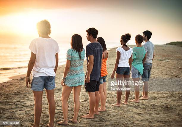 volunteer togetherness at dusk
