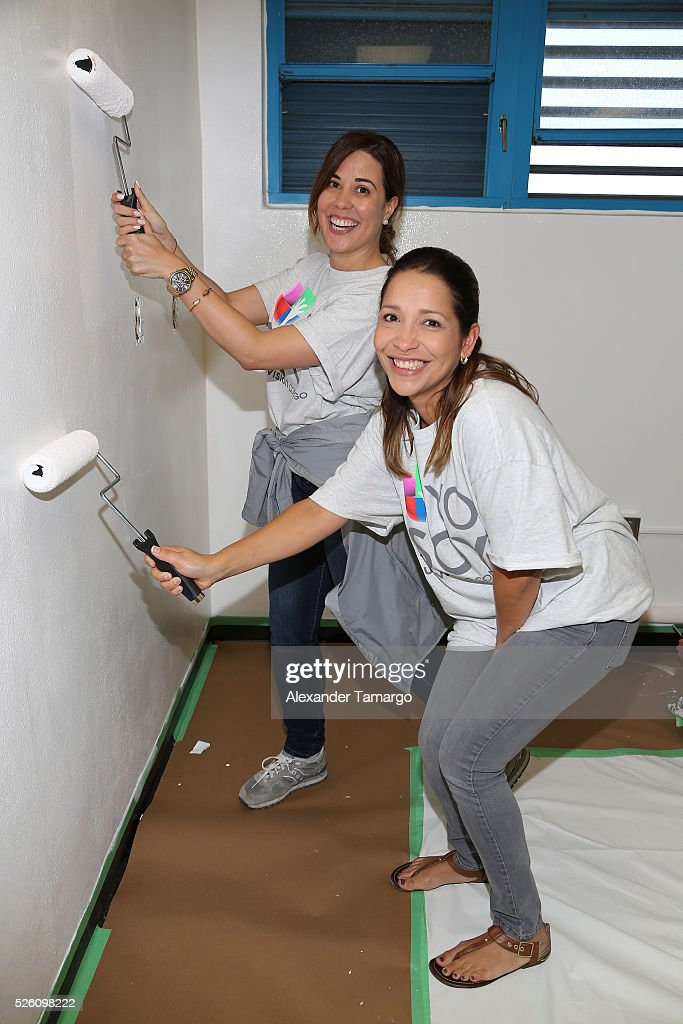 Volunteers are seen during Univision's Media Centers/Week of Service at Ruben Dario Middle School on April 29, 2016 in Miami, Florida.