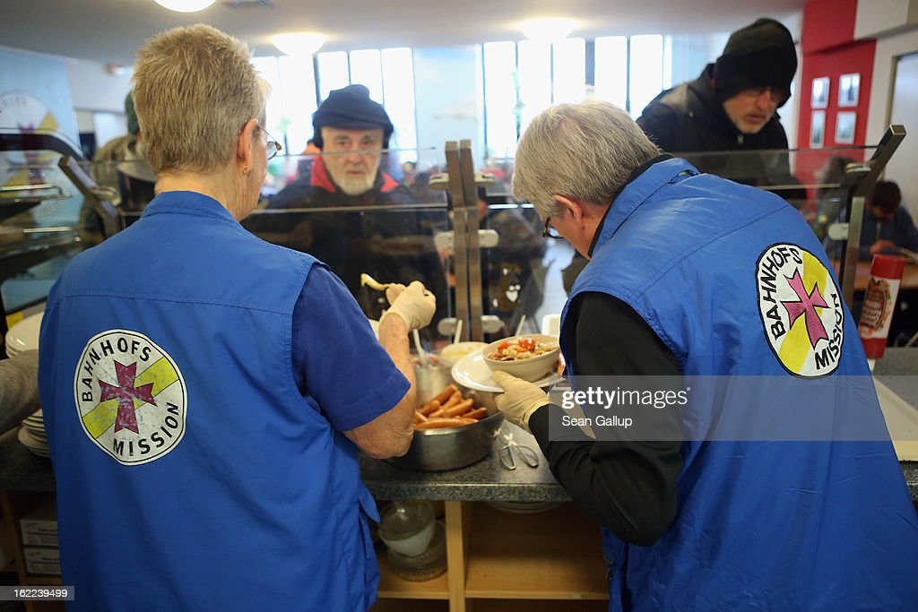 Volunteers distribute a free lunch to the needy, many of them homeless, at the Bahnhofsmission Protestant charity facility at Zoo train station on February 20, 2013 in Berlin, Germany. The Bahnhofsmission feeds up to 600 needy men and women every day, up from 400 only three years ago. Approximately 60% of the visitors are from Eastern Europe, many of them workers in low-paying jobs who became unemployed and ran out of money. Dieter Puhl, who runs the Bahnhofsmission, says he is seeing a steady increase in the number of visitors, especially among older Germans whose pensions are insufficient for them to make ends meet. Poverty in Germany, defined as someone who makes less than 60% of the median wage, has risen steadily in recent years, and according to statistics 14% of people in Germany lived below the poverty line in 2010. Both poverty and pensions that have not kept up with the rising cost of living will be contested topics in federal elections scheduled later for this year.