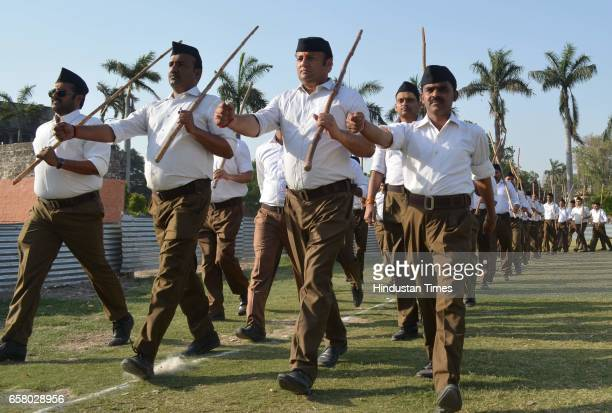RSS volunteers during Pad Sanchalan at Beniyabag Ground on March 26 2017 in Varanasi India