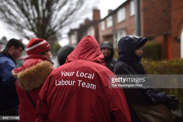 Volunteers for the Labour party canvas a neighborhood to get the vote out in Stoke on Trent United Kingdom on February 23 2016 The populist right...