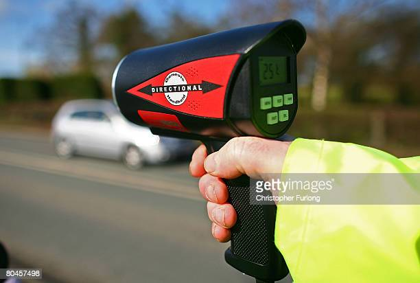 Volunteers from the Community Speed Watch track and record the speed of drivers through the village of Church Minshull on April 1 in Crewe England...