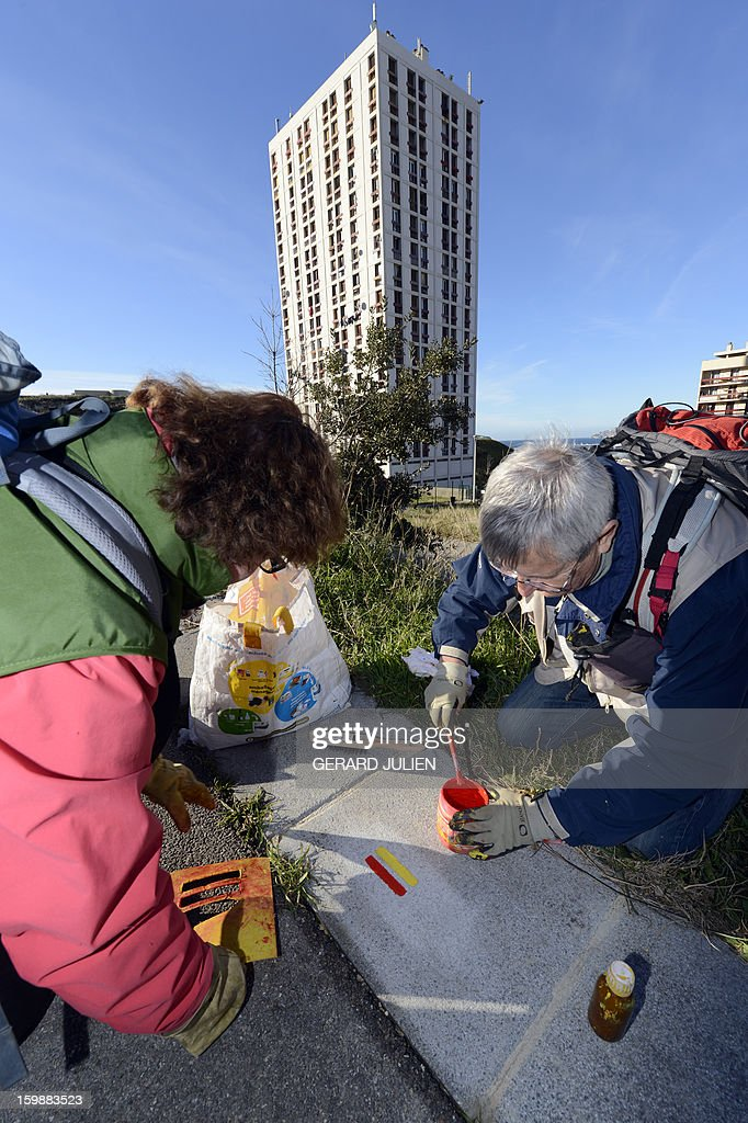 Volunteers from the 'Fédération Française de Randonnée Pédestre' (FFRP - French Federation of Pedestrian Hiking) mark the path of the GR2013 hiking route with red and yellow paint, in Marseille, on January 22, 2013. The GR2013 hiking route was established as part of the 'Marseille-Provence European Capital of Culture 2013' program, which sees Marseille host a variety of cultural activities throughout the year. The GR2013 path is 360kms long and crosses through both urban and natural areas, forming an infinity symbol and loop. The GR2013 will be ready and open to the public as of March 22.