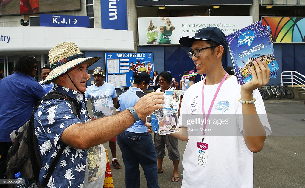 FSHD volunteers handing out programs during the 2016 Sydney Sevens at Allianz Stadium on February 7, 2016 in Sydney, Australia.