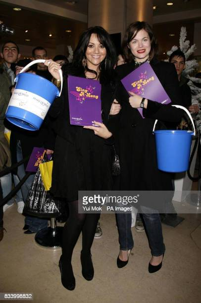 Volunteers Martine McCutcheon and Jasmine Guinness arrive to meet shoppers at Selfridges on Oxford Street central London where Spice Girl Mel B sang...